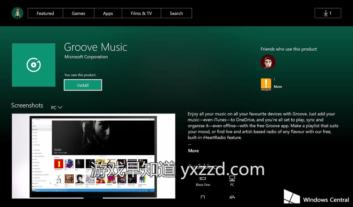 Xboxone Groove Music